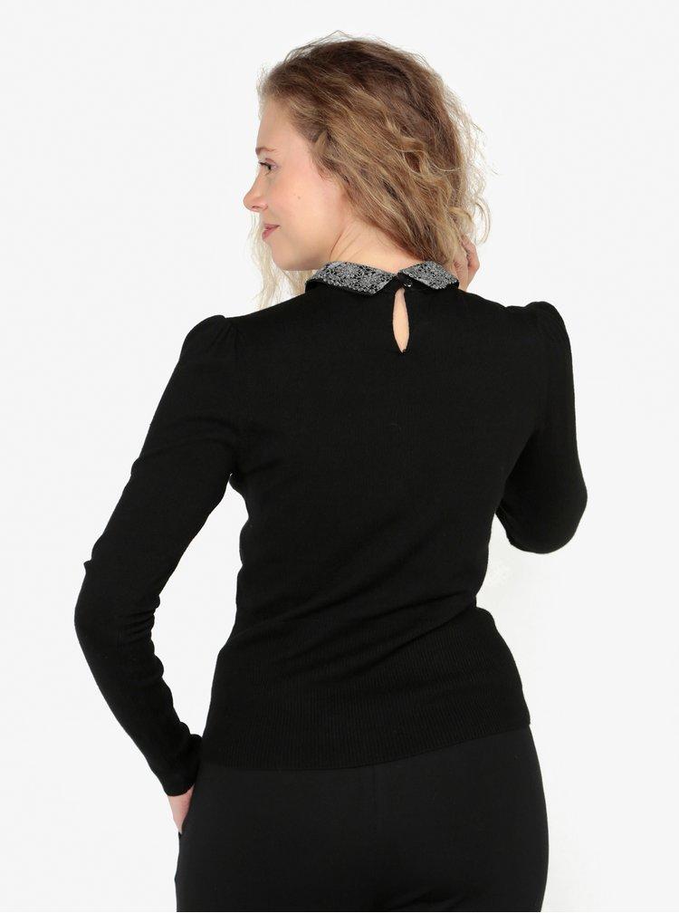 Černý lehký svetr s odnímatelným límečkem Oasis Mettalic