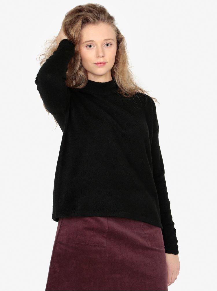 Pulover oversized negru cu guler pentru femei - QS by s.Oliver