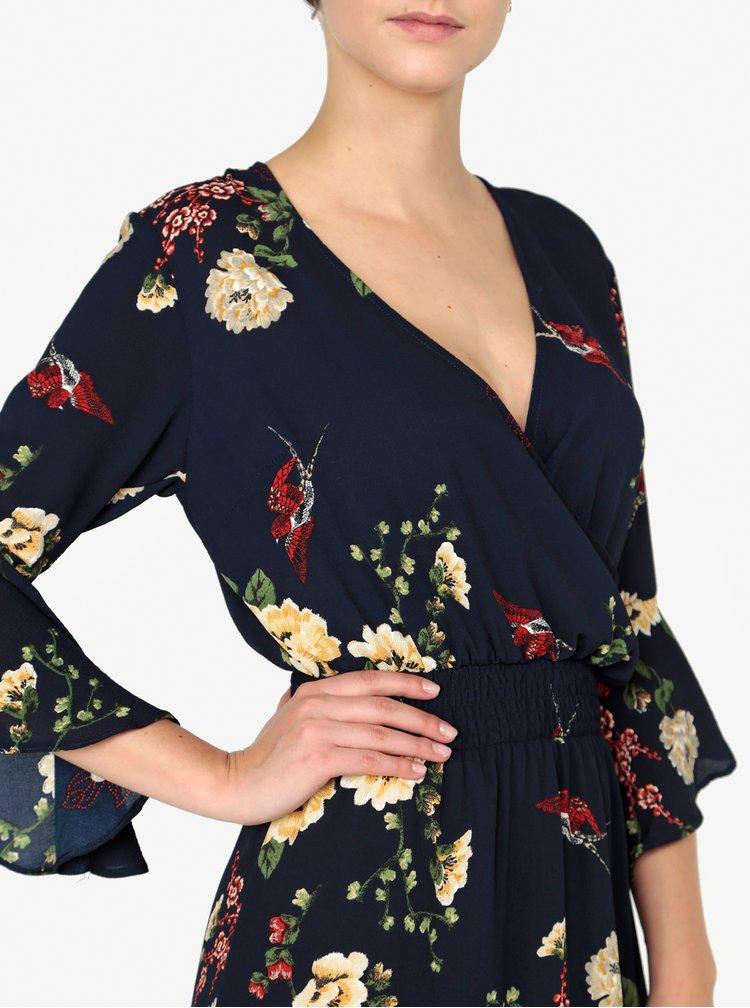 Tmavě modré květované šaty s překládaným výstřihem AX Paris