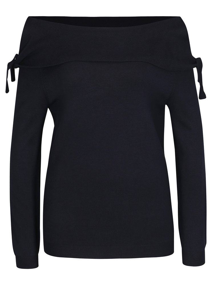 Tmavomodrý sveter s lodičkovým výstrihom Dorothy Perkins