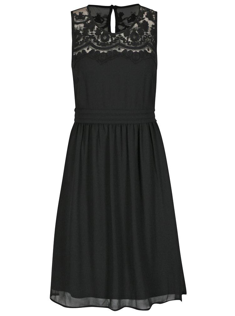 Čierne šaty s čipkou VERO MODA Vanessa
