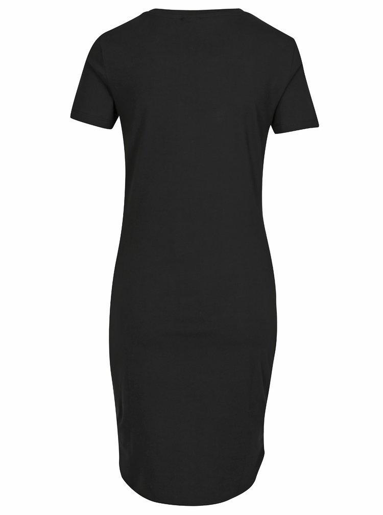 Čierne basic šaty s krátkym rukávom Noisy May Summer