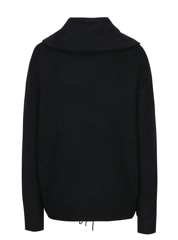 Černý žíhaný svetr s příměsí vlny VERO MODA Helen