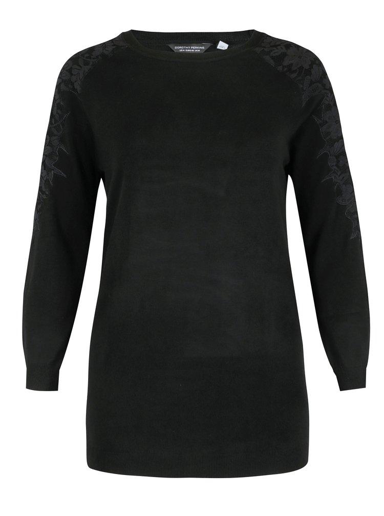 Černý svetr s krajkou a průstřihy na ramenou Dorothy Perkins Curve