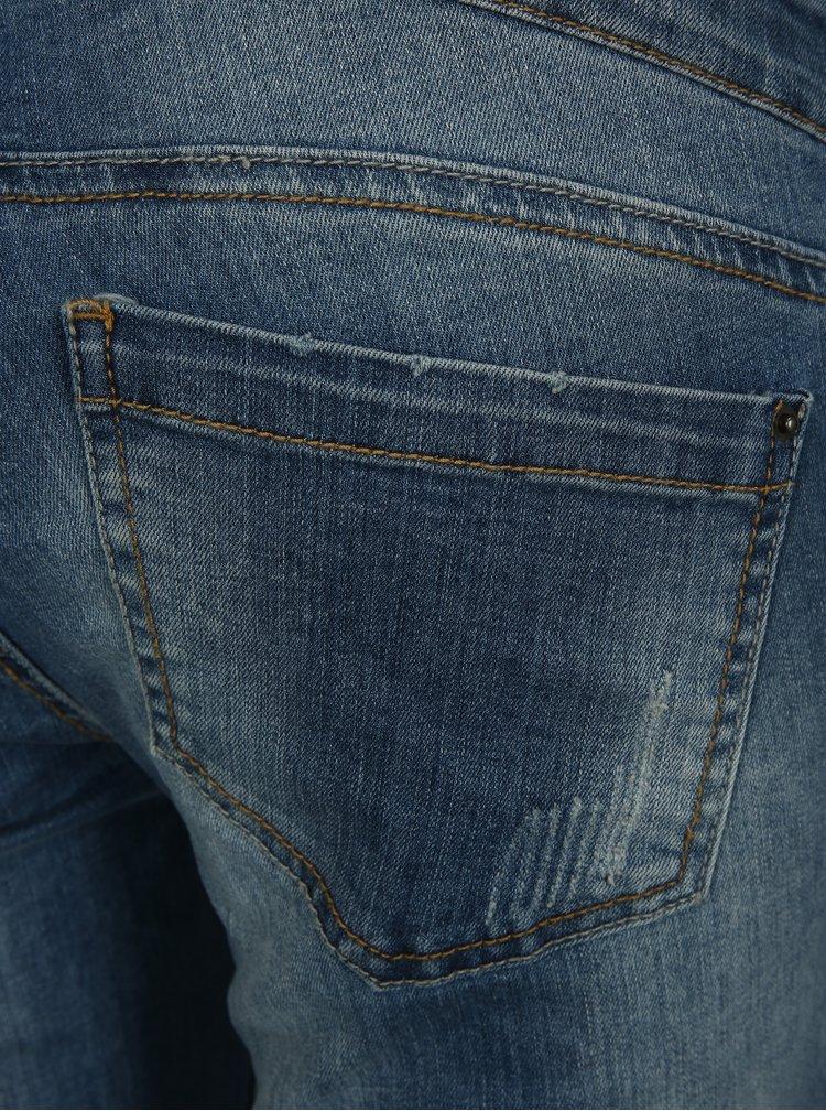 Modré těhotenské zkrácené slim fit džíny Mama.licious Naga