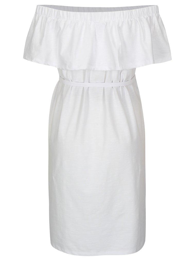 Bílé těhotenské šaty s odhalenými rameny Mama.licious Heart