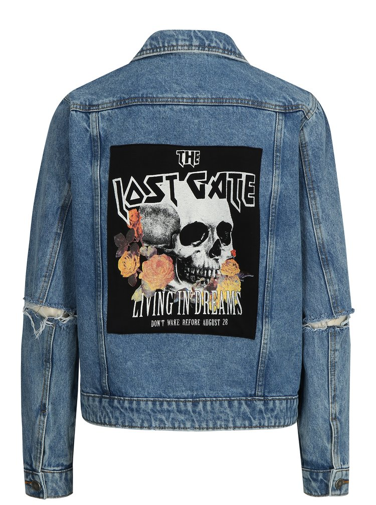 Modrá džínová bunda s nášivkou na zádech Noisy May Cille