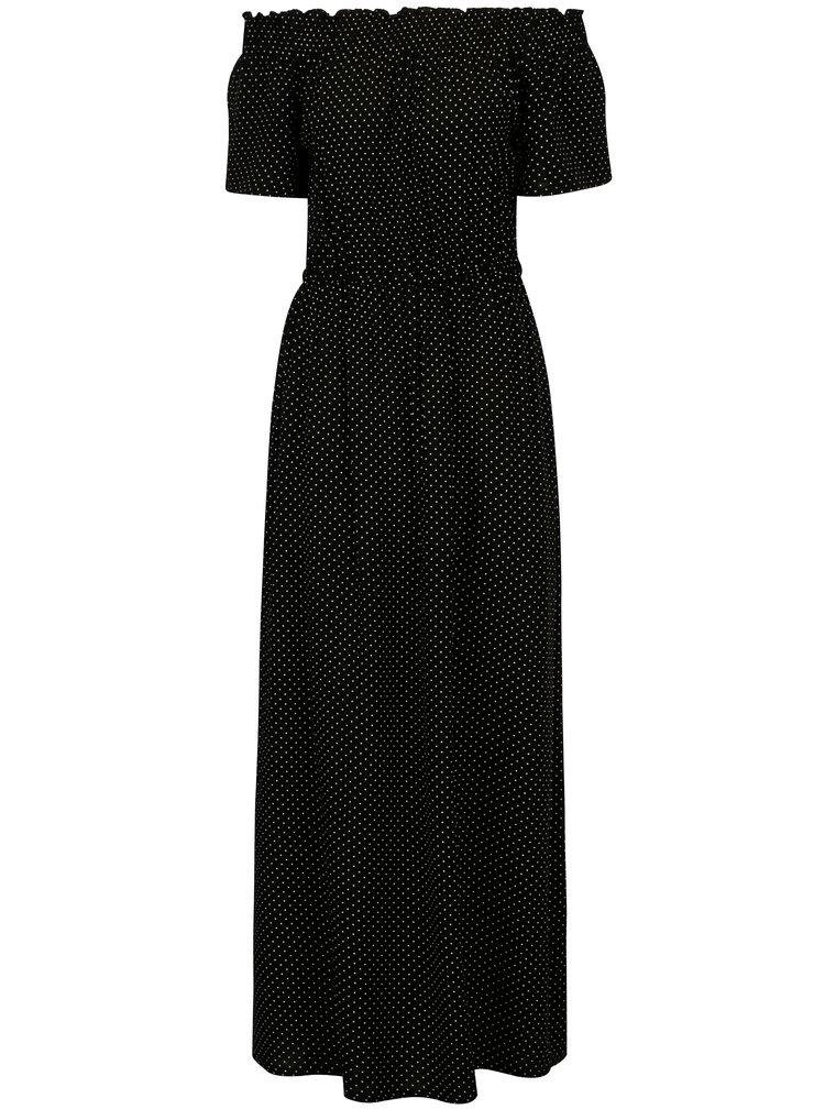 Černé puntíkované maxišaty s odhalenými rameny Dorothy Perkins
