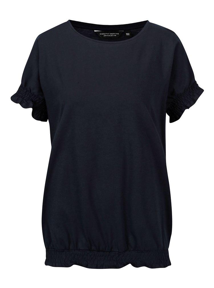 Tmavě modré tričko s řasením Dorothy Perkins