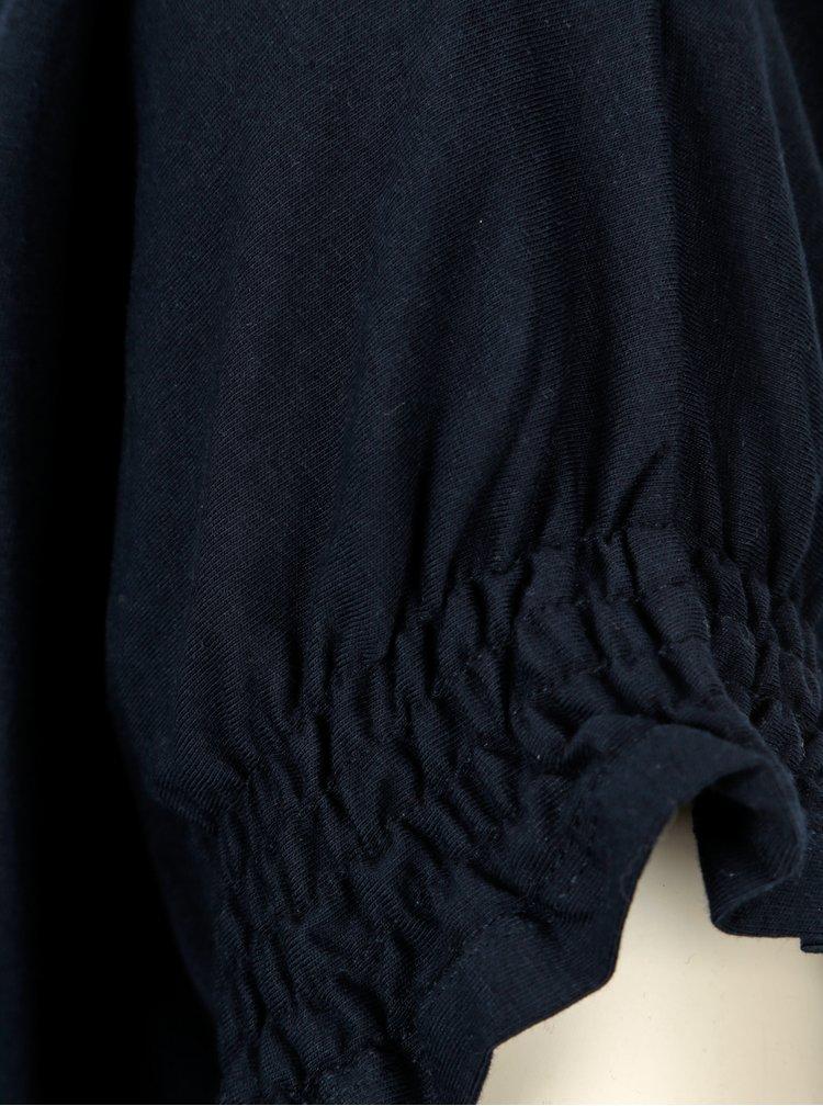 Černé tričko s krátkým rukávem a volány Dorothy Perkins