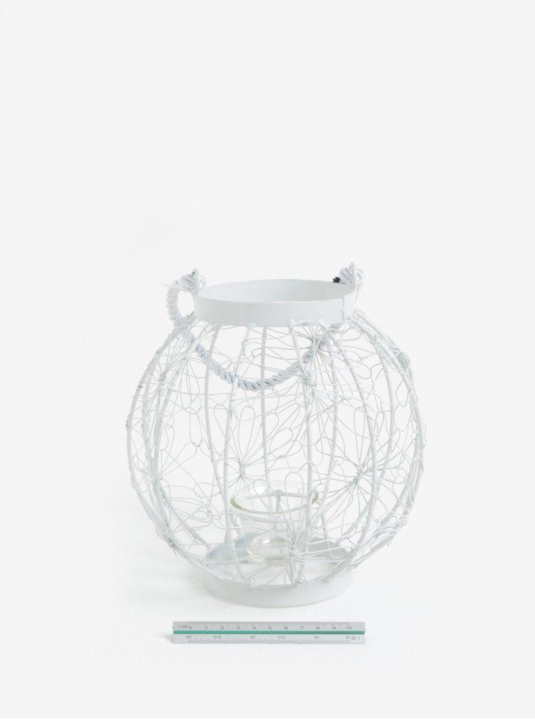 Bílá kovová lucerna Dakls