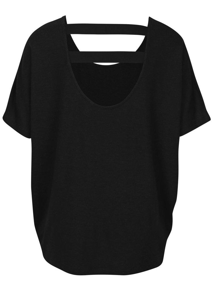 Černé oversize tričko s elastickými pásy na zádech ONLY Moster