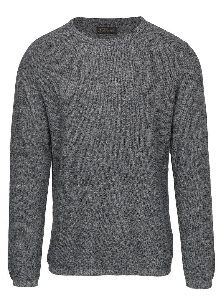 Tmavě modrý žíhaný svetr s příměsí lnu Jack & Jones Originals Orlito