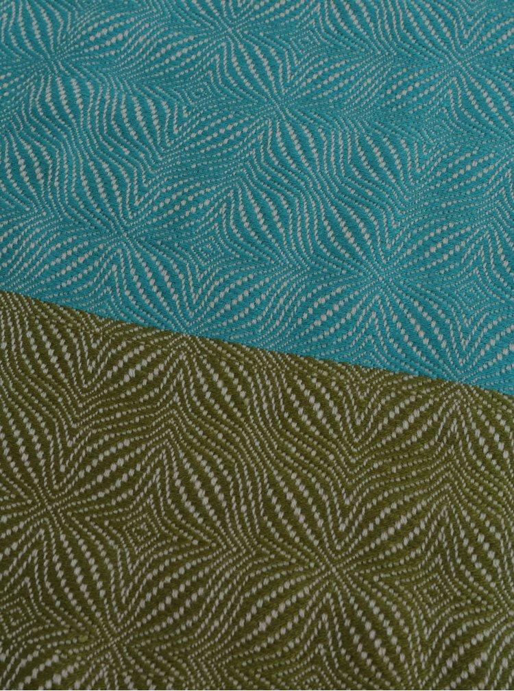 Zeleno-modrý vzorovaný přehoz s třásněmi Kaemingk