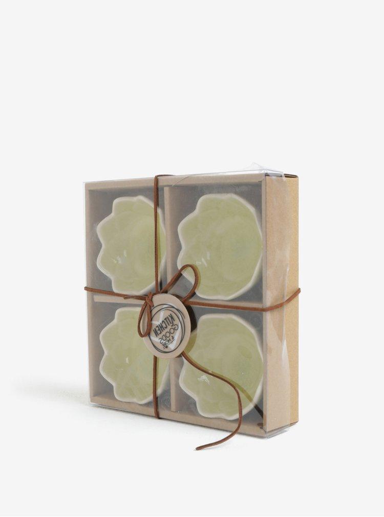 Set de 4 suporturi de lumanari verde deschis in forma de floare de lotus Kaemingk