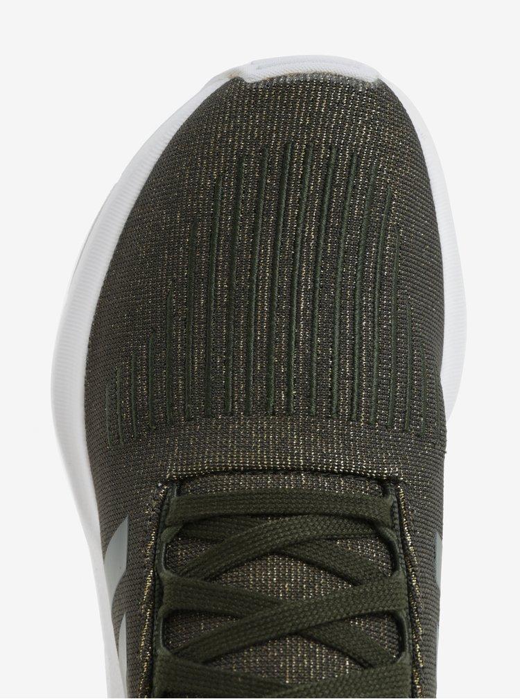 Tmavě zelené dámské třpytivé tenisky adidas Originals Swift run