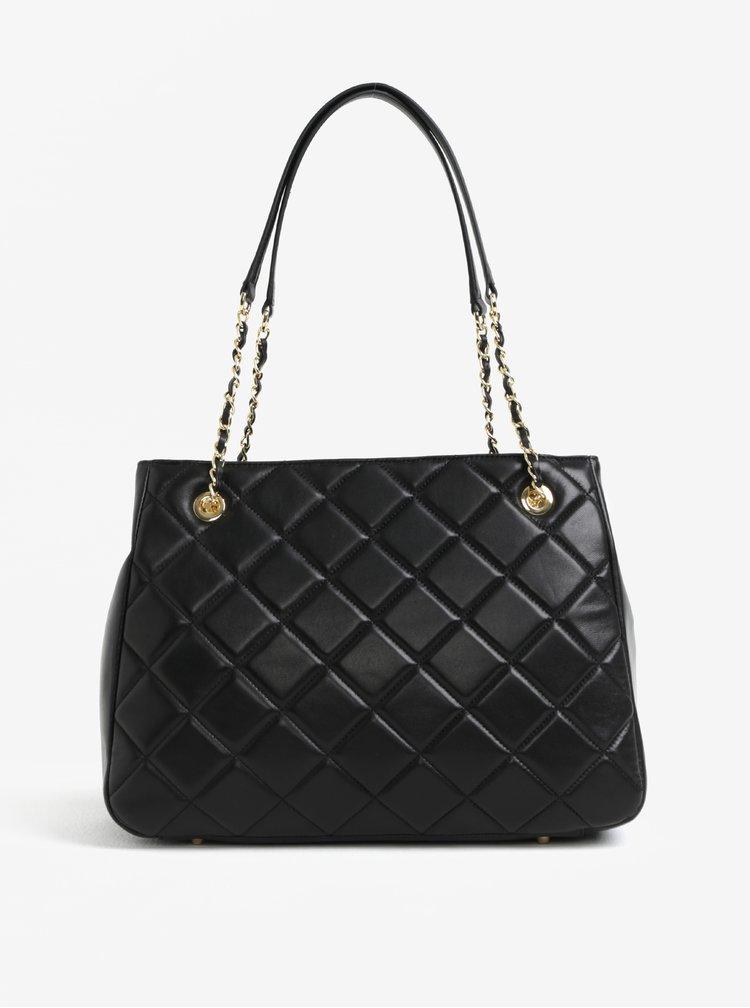 Černá velká kožená kabelka s detaily ve zlaté barvě DKNY Barbara