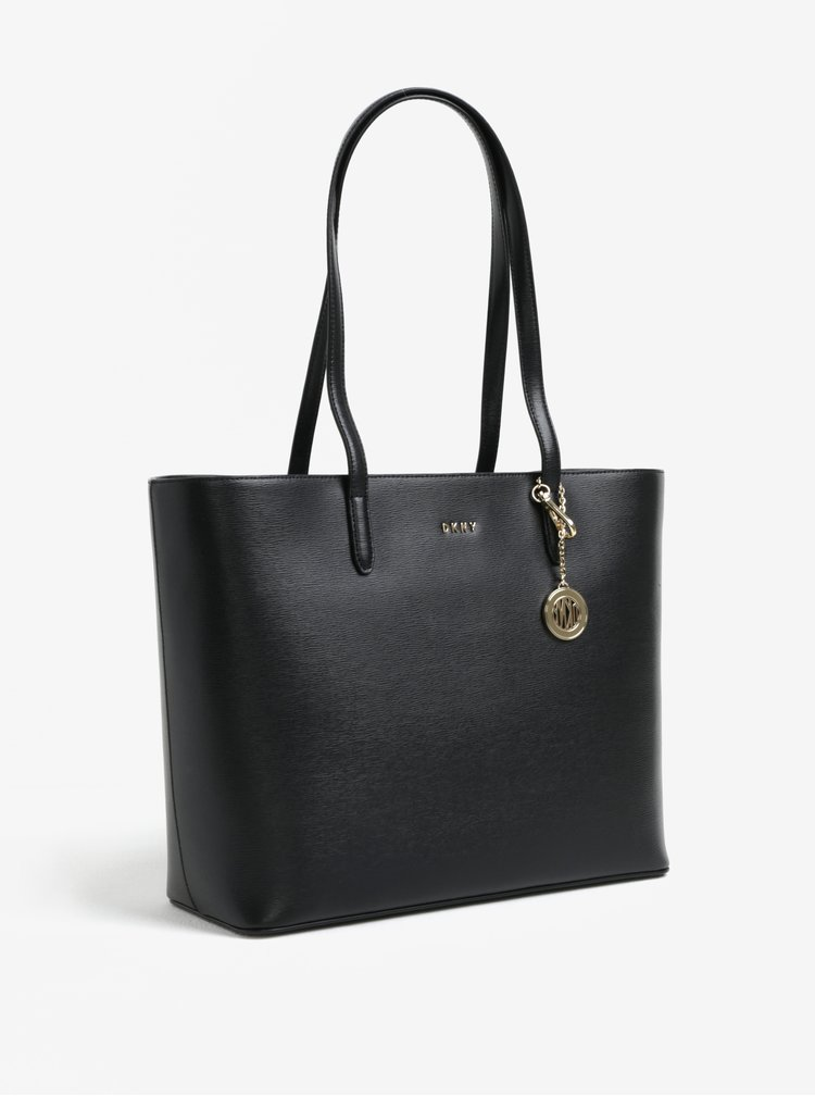 Černý kožený shopper s detaily ve zlaté barvě DKNY Bryant