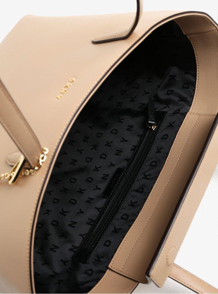 Béžový kožený shopper s detaily ve zlaté barvě DKNY Bryant