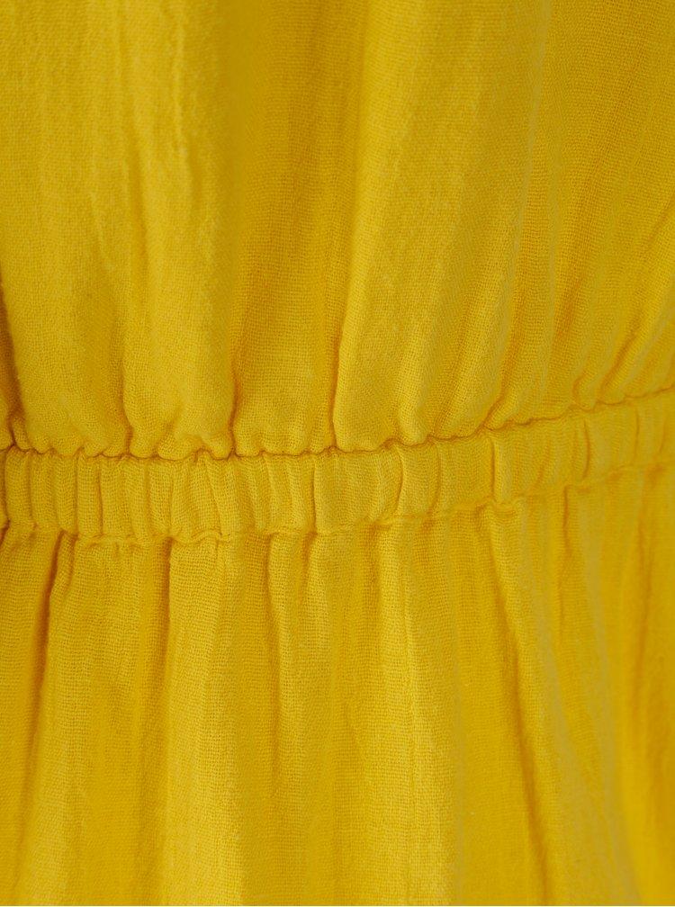 Žluté šaty s průstřihem na břiše Noisy May Paci