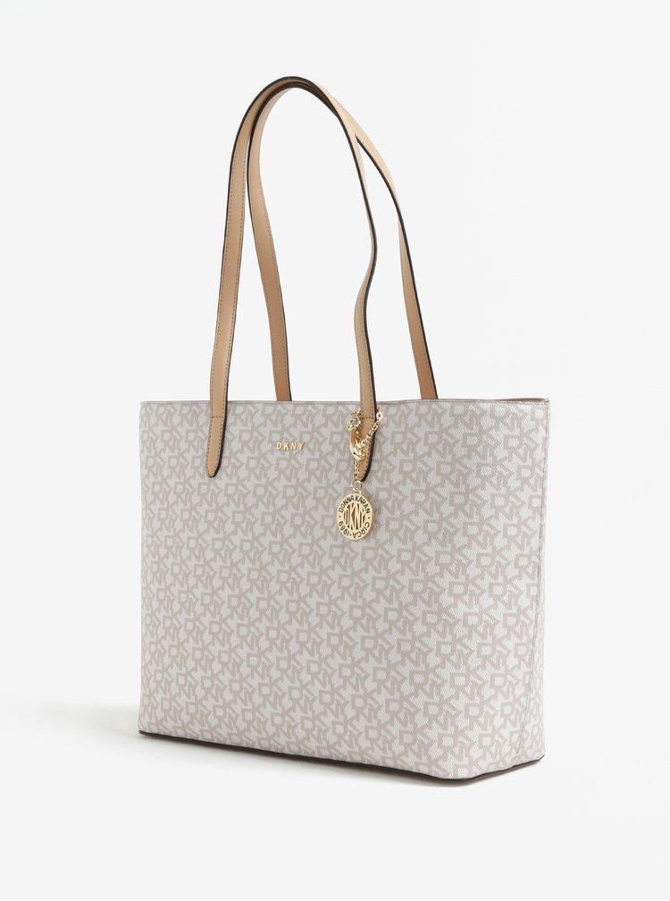 Béžovo-krémový vzorovaný shopper s detaily ve zlaté barvě DKNY Bryant