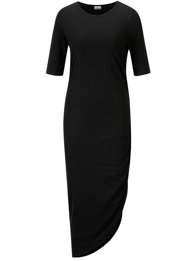 Černé asymetrické šaty s řasením na boku Noisy May Ola