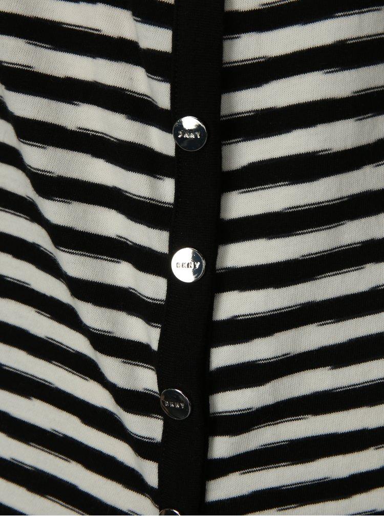 Černo-krémové pruhované basic tílko DKNY
