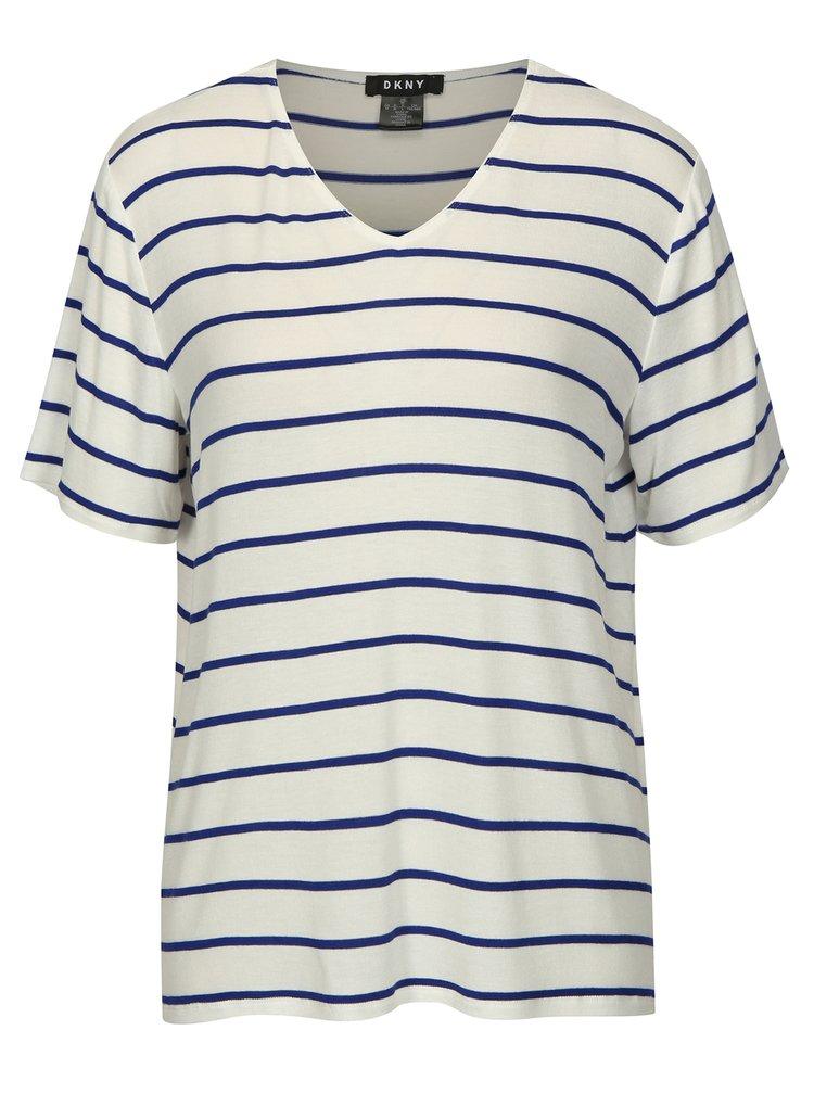 Krémovo-modré pruhované tričko DKNY