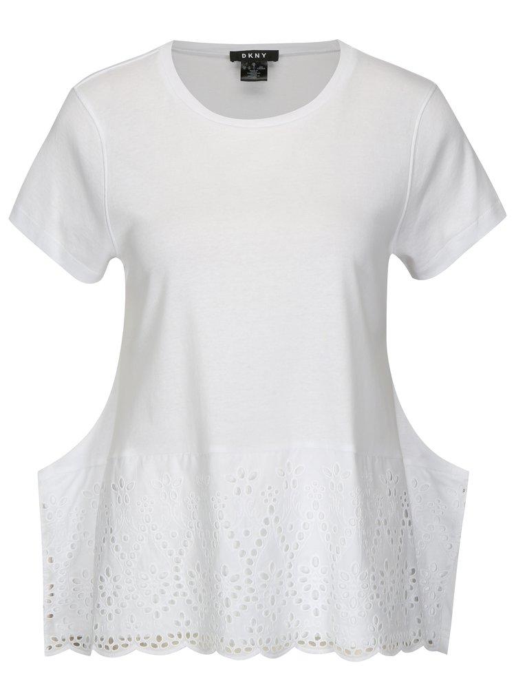 Bílé tričko s madeirou DKNY