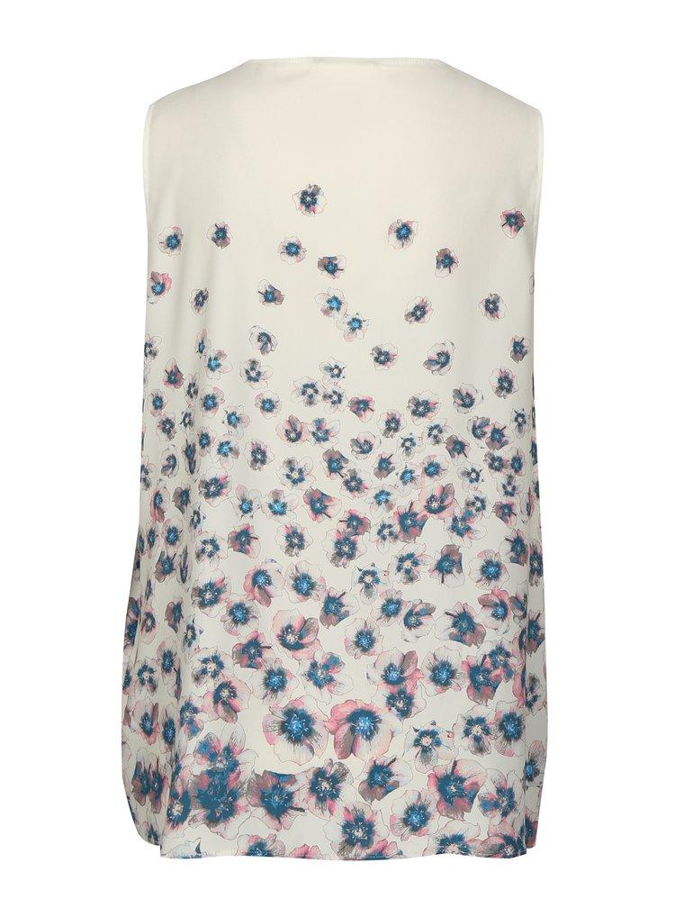 Krémová květovaná halenka bez rukávů DKNY