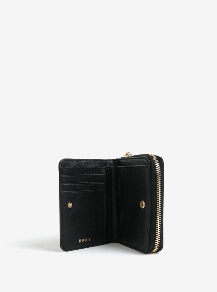 Černá kožená peněženka s detaily ve zlaté barvě DKNY Carryall