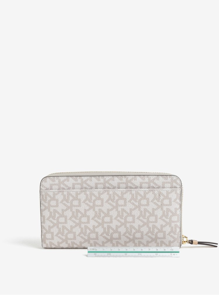 Krémová vzorovaná velká peněženka DKNY