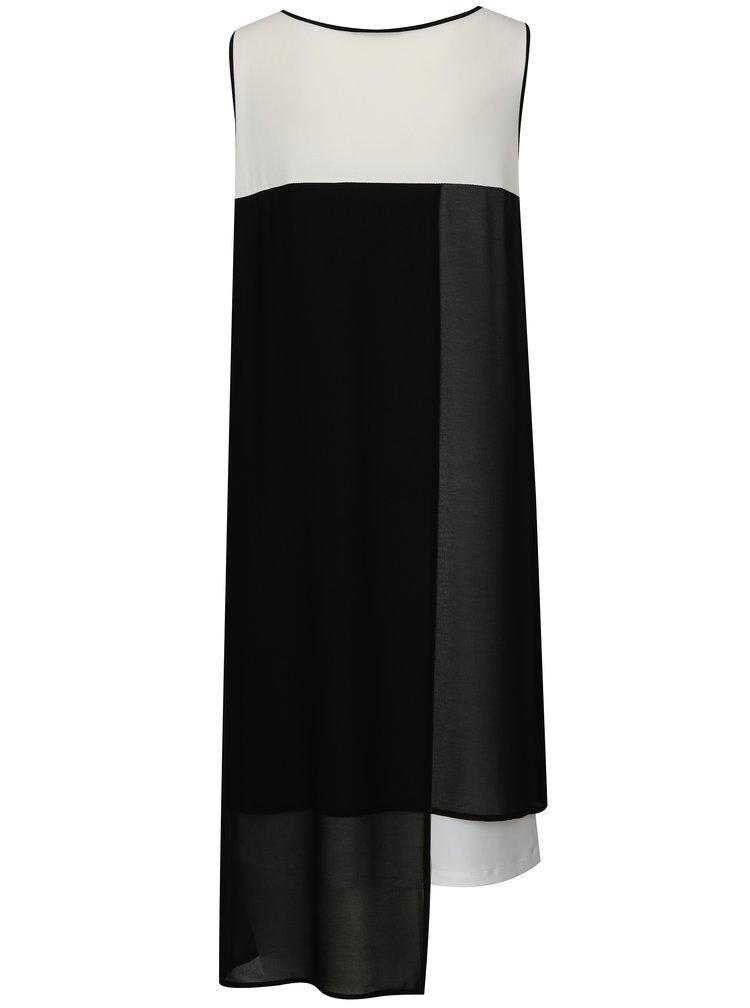 Bílo-černé asymetrické šaty DKNY