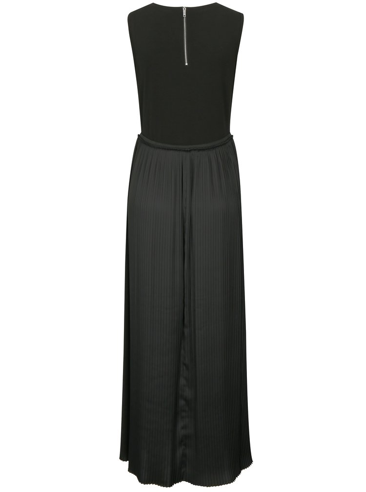 Rochie neagra cu pliseuri si print geometric DKNY