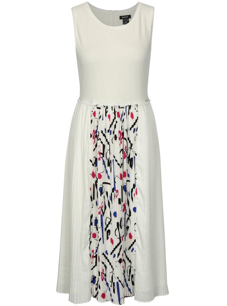 Bílé šaty s plisovanou sukní DKNY