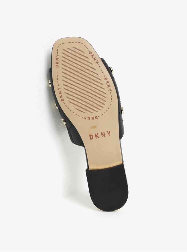 Černé kožené pantofle DKNY Roy
