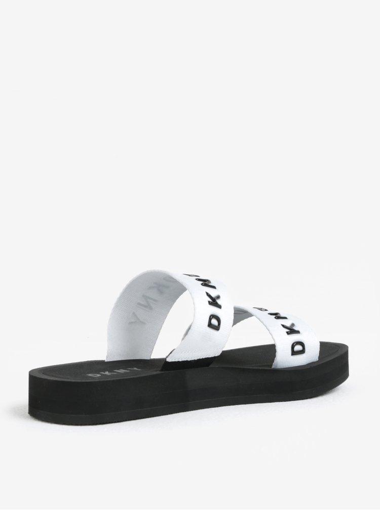 Papuci albi cu barete si logo - DKNY Millie