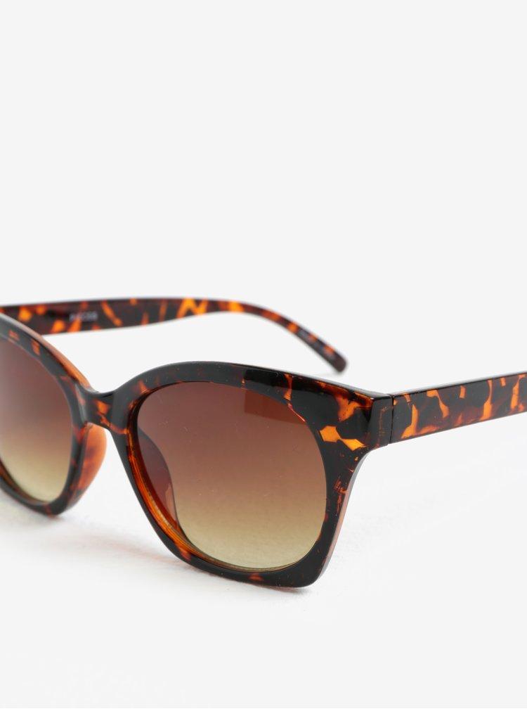 Hnědé vzorované sluneční brýle Pieces Inka