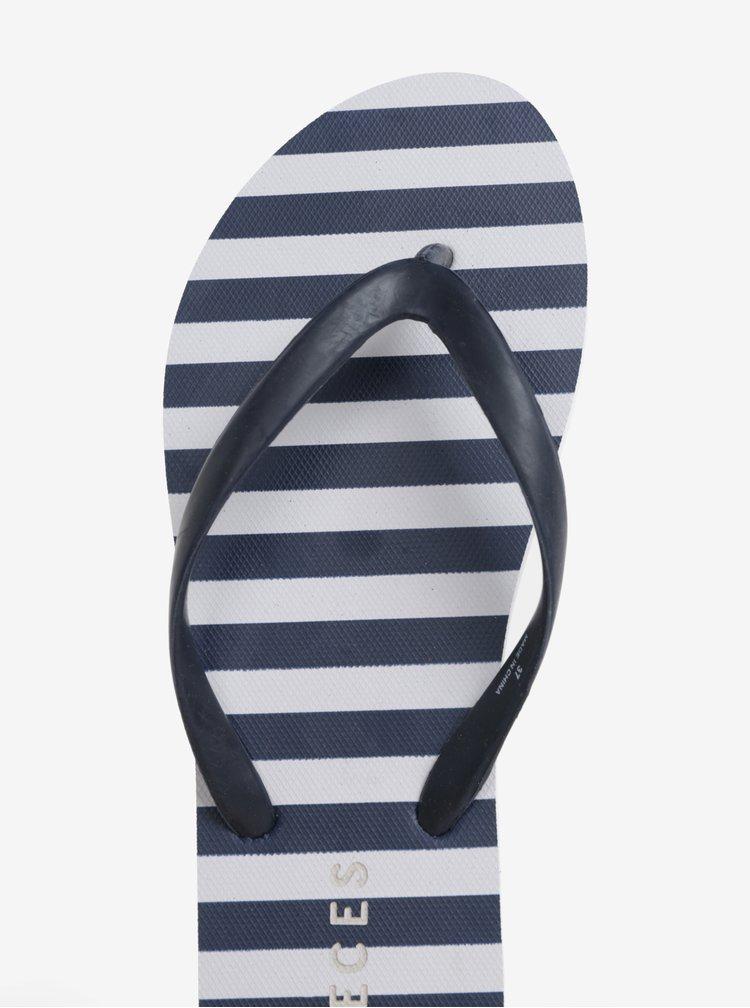 Papuci flip-flop albastru&alb in dungi Pieces Vera