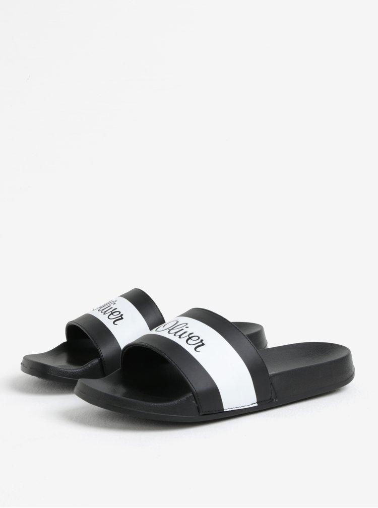 Bílo-černé pánské pantofle s logem s.Oliver
