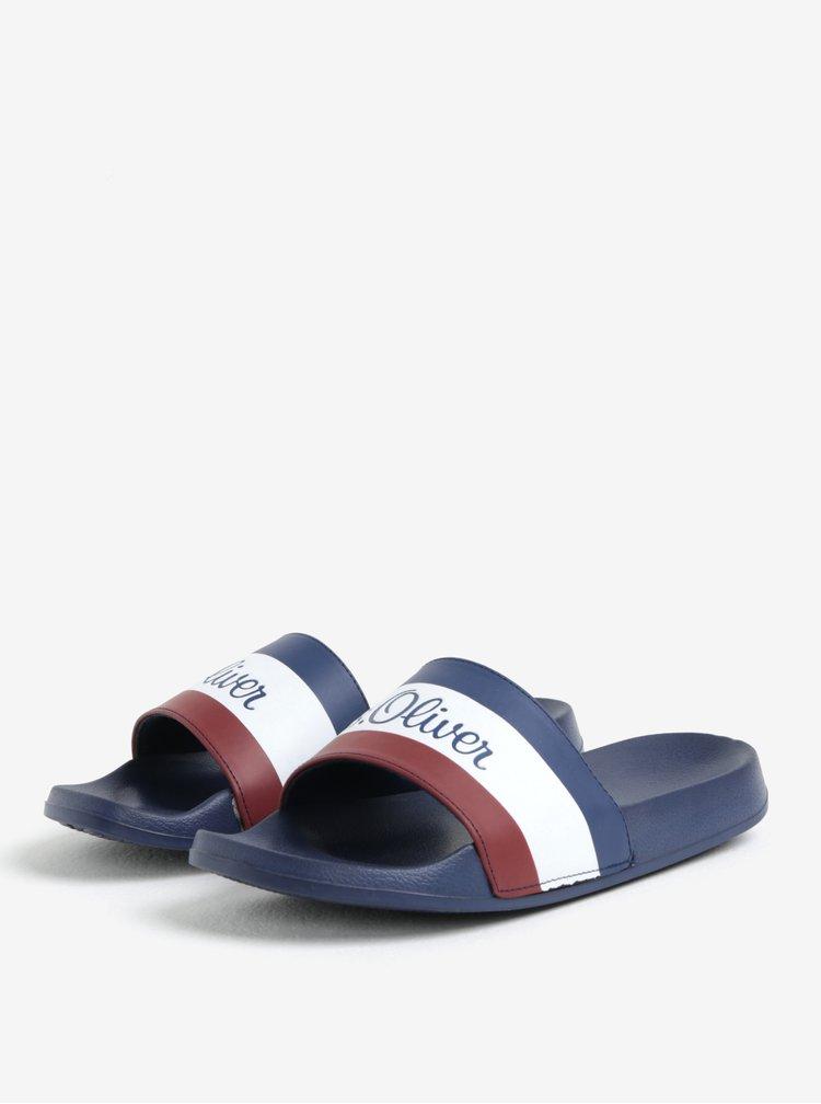 Papuci bleumarin cu dungi si logo pentru barbati - s.Oliver