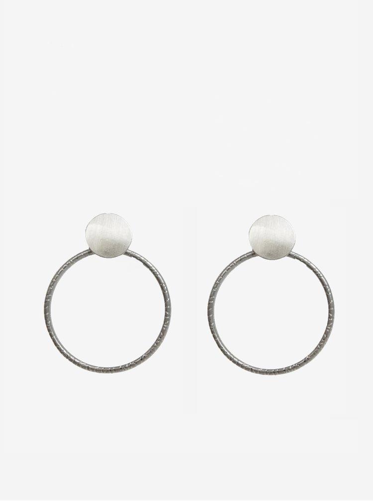 Kruhové náušnice ve stříbrné barvě Pieces Ganja
