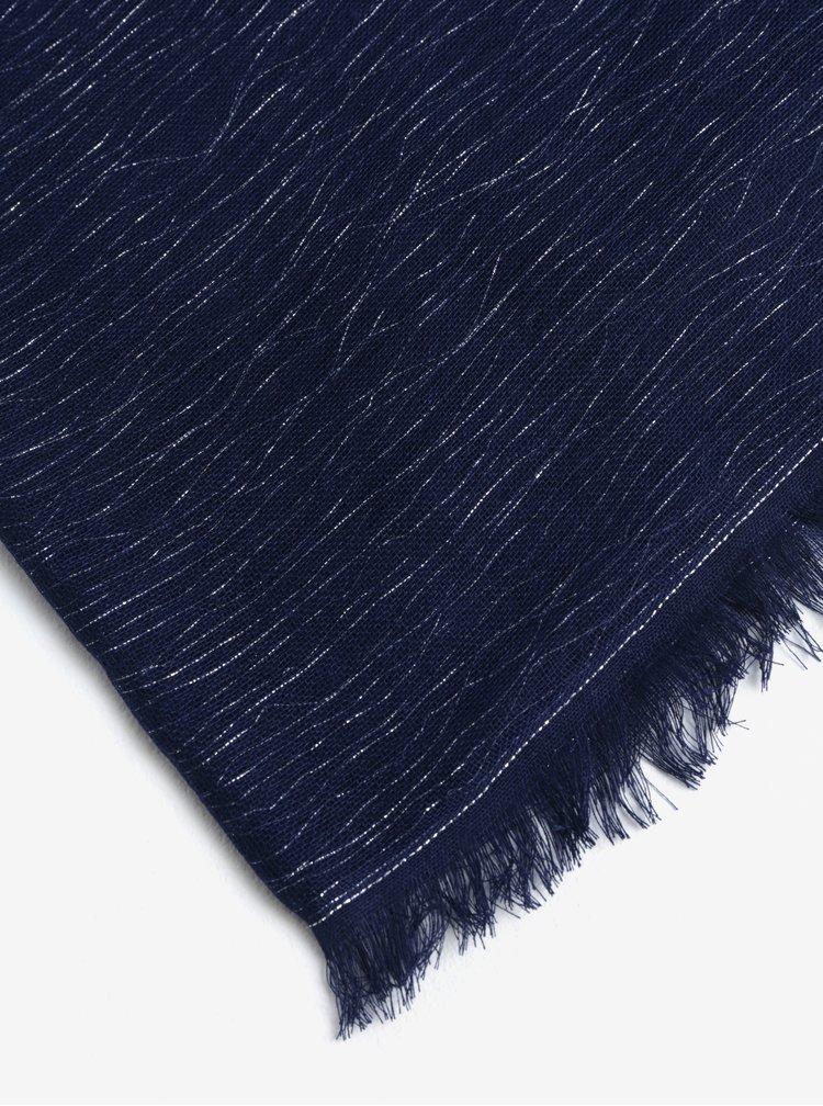 Esarfa bleumarin cu franjuri si aspect stralucitor - Pieces Dalissa