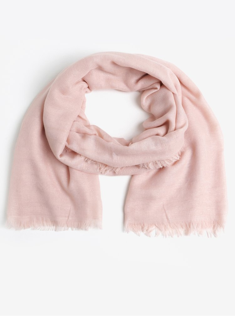 Esarfa roz cu franjuri si aspect stralucitor - Pieces Dalissa