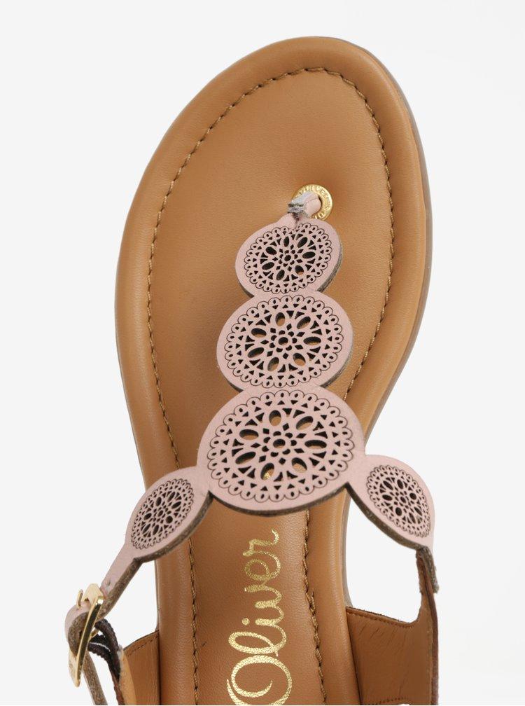 Starorůžové kožené perforované sandály s.Oliver