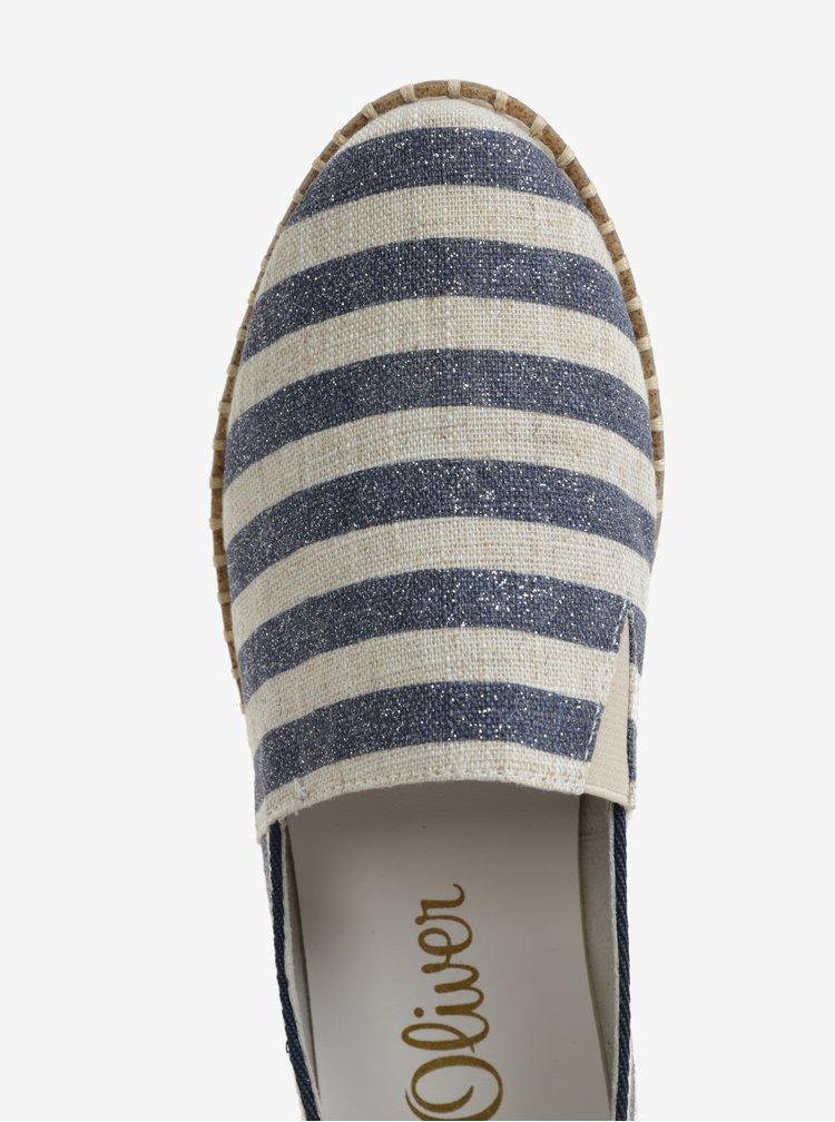 Béžovo-modré dámské pruhované slip on s.Oliver
