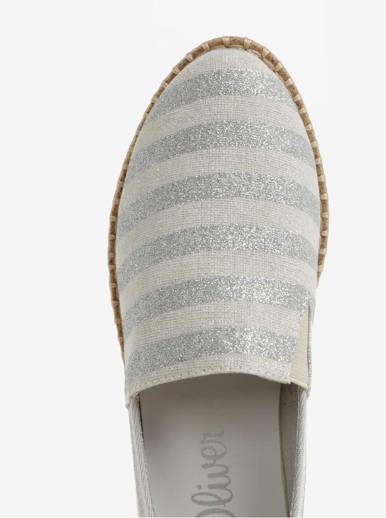 Dámské pruhované slip on tenisky v béžovo-stříbrné barvě s.Oliver