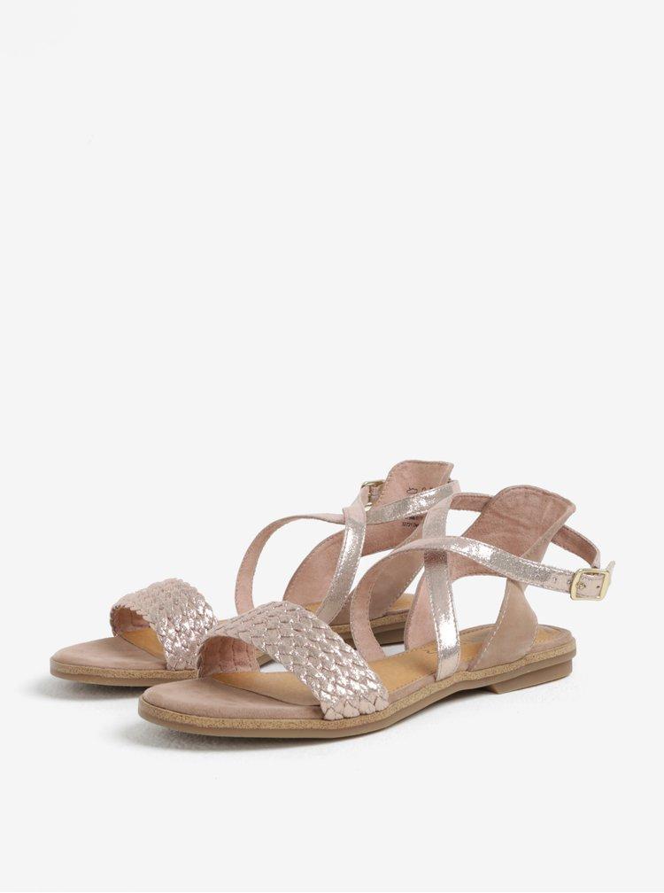 Starorůžové dámské kožené lesklé sandály s.Oliver