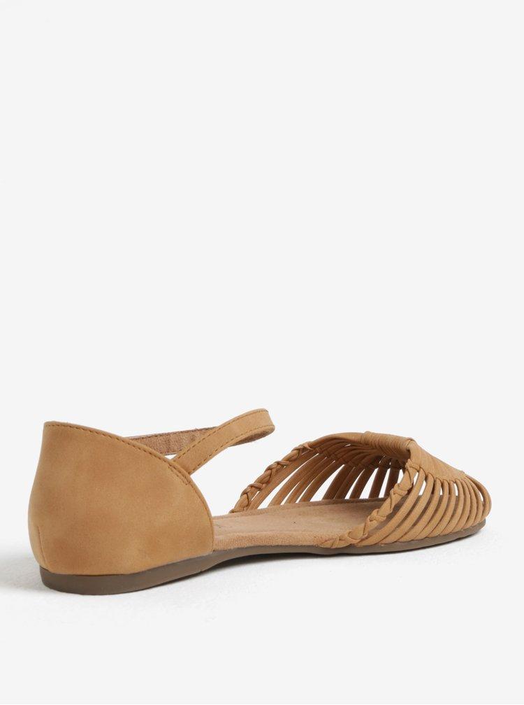 Hnědé dámské sandály s přívěskem loga s.Oliver