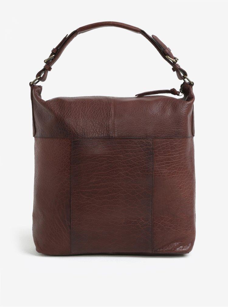 Tmavě hnědá velká kožená kabelka Pieces Ida